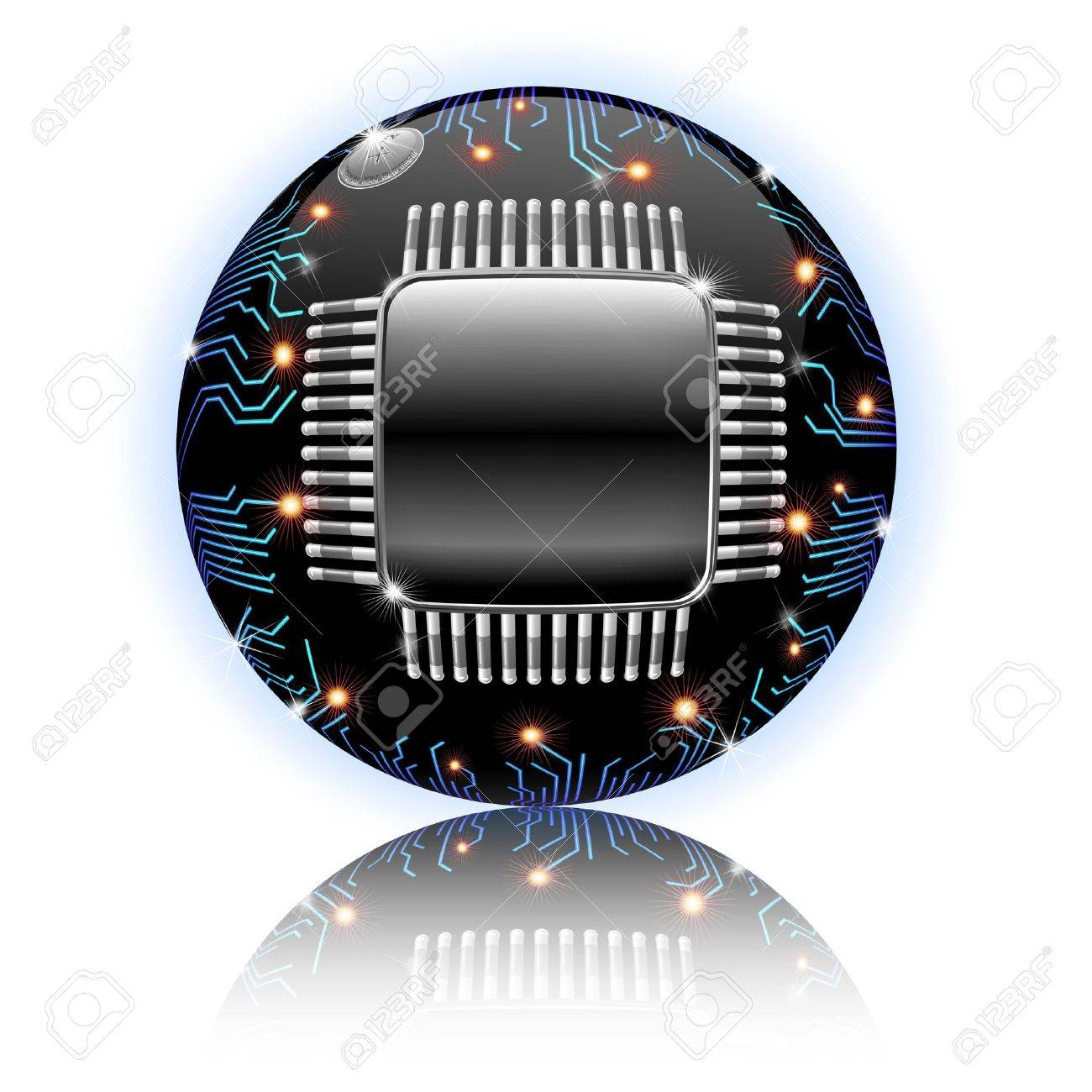 Electronic Motherboard Circuit Sphere Globe isolated on White Stock Photo - 14624696