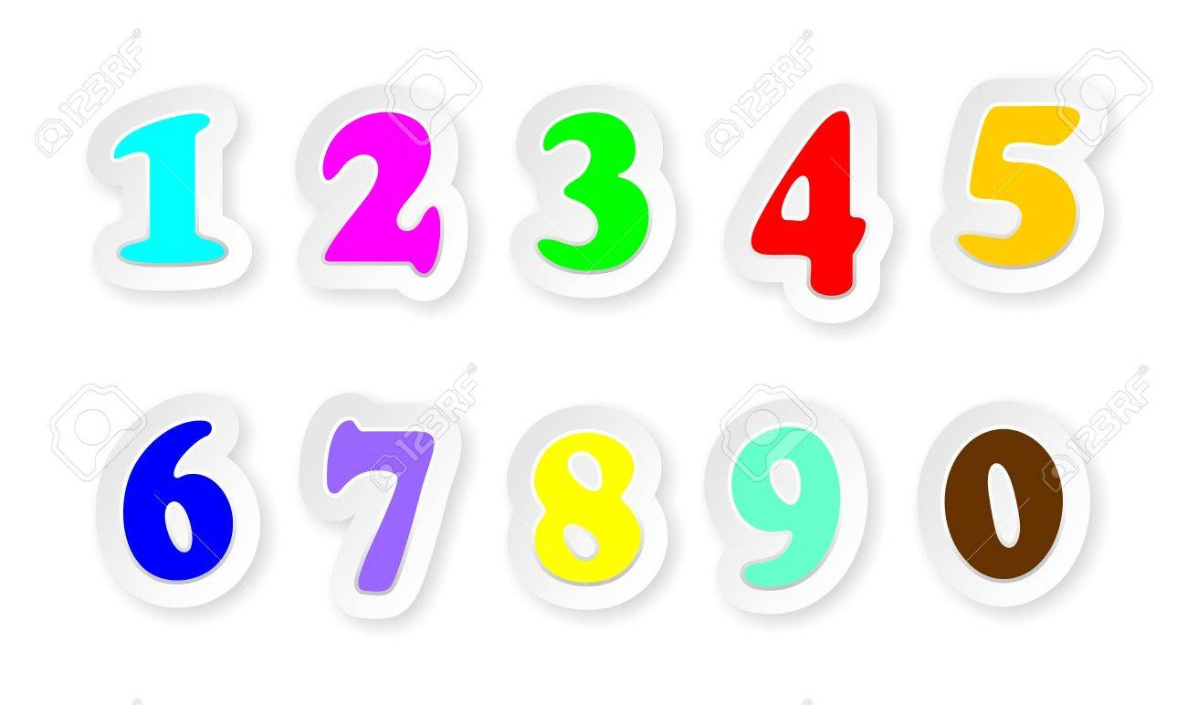 Stickers Numbers Sign Colors Stock Vector - 14742618
