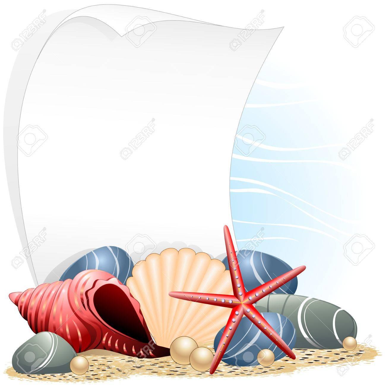 Seashells Starfish and Pearls Ocean Card Stock Vector - 14742617