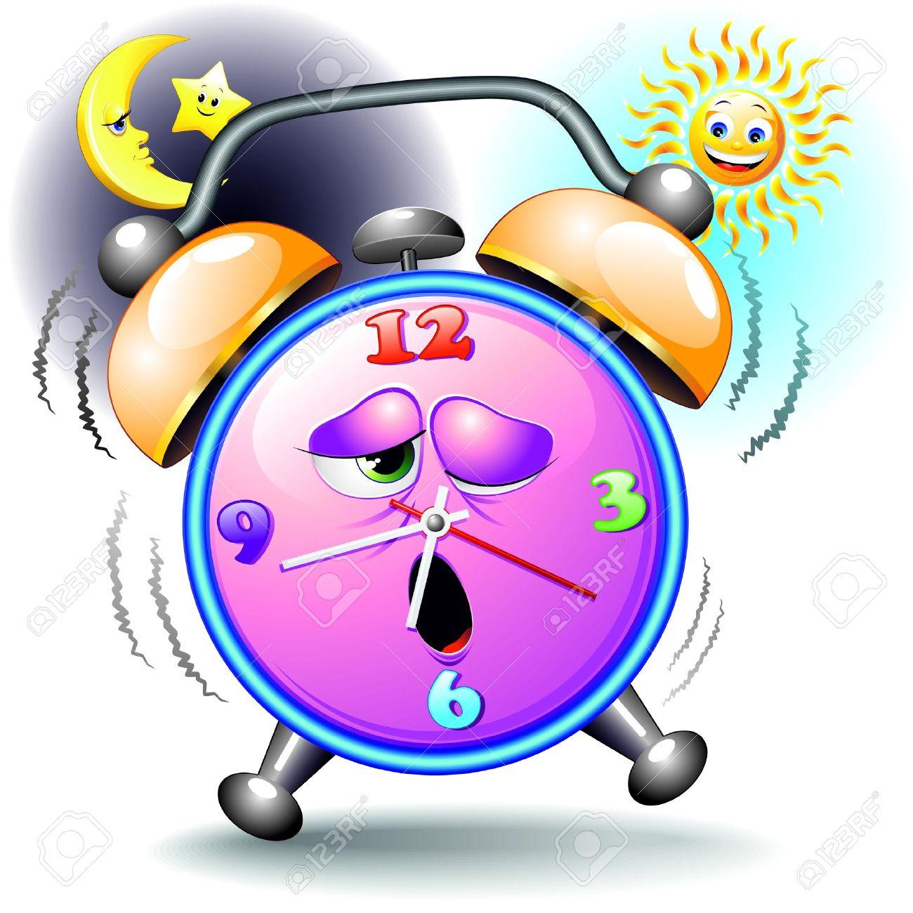 alarm clock funny cartoon day and night royalty free cliparts rh 123rf com
