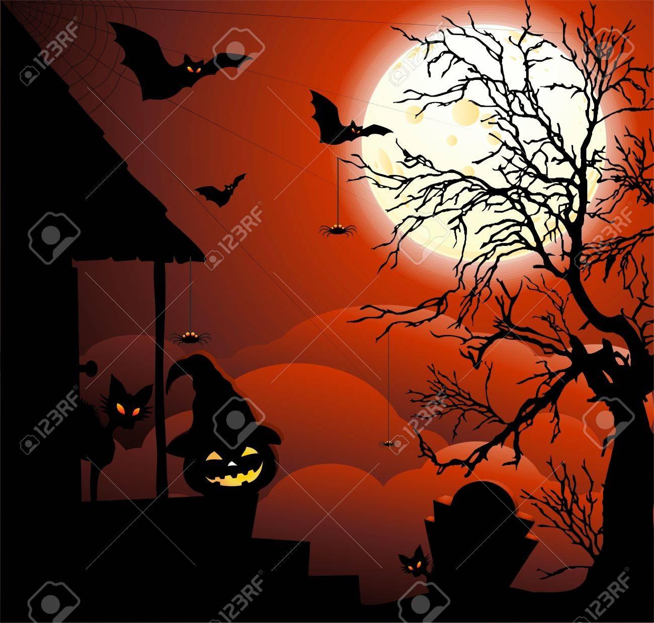 Halloween Night with Moonlight Stock Vector - 15129372