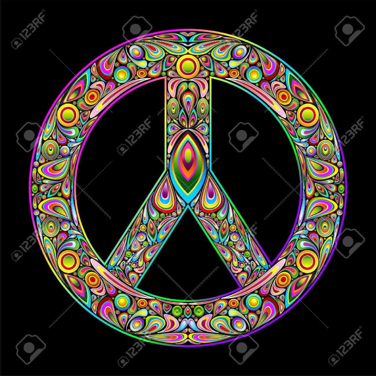 Peace Symbol Psychedelic Art Design Stock Vector - 15906756
