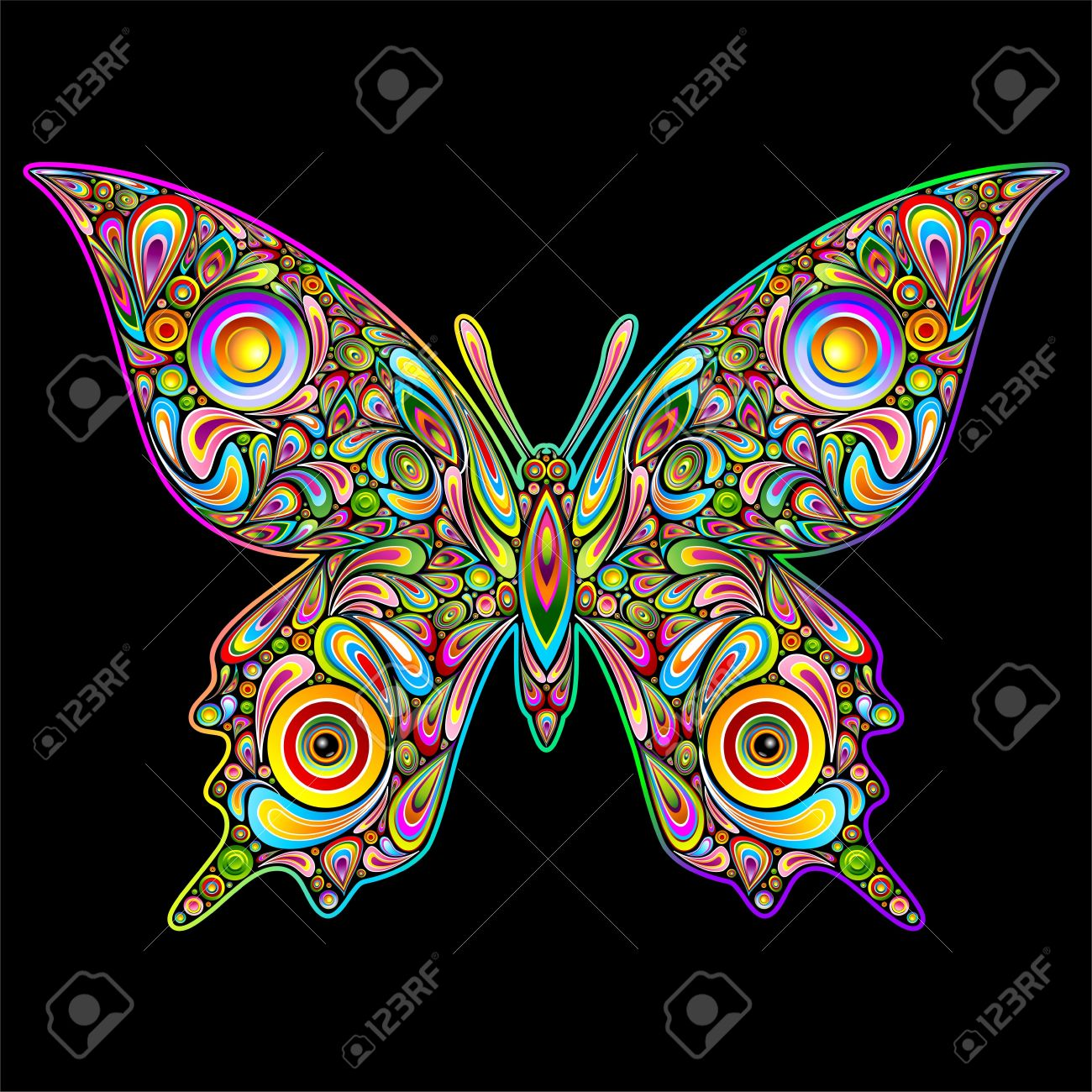 Butterfly Psychedelic Art Design Stock Vector - 15992367