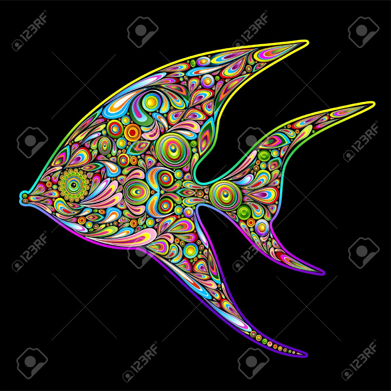 angel fish psychedelic art design royalty free cliparts vectors