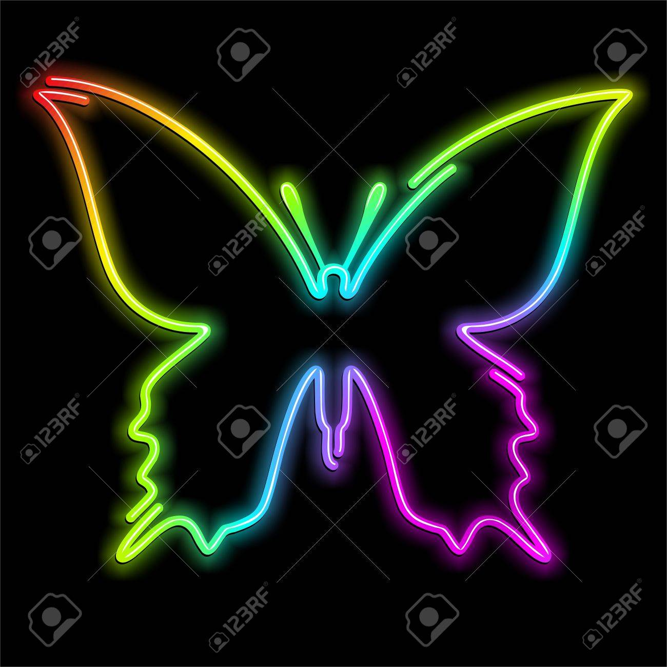 Butterfly Psychedelic Neon Light Stock Vector - 16332312