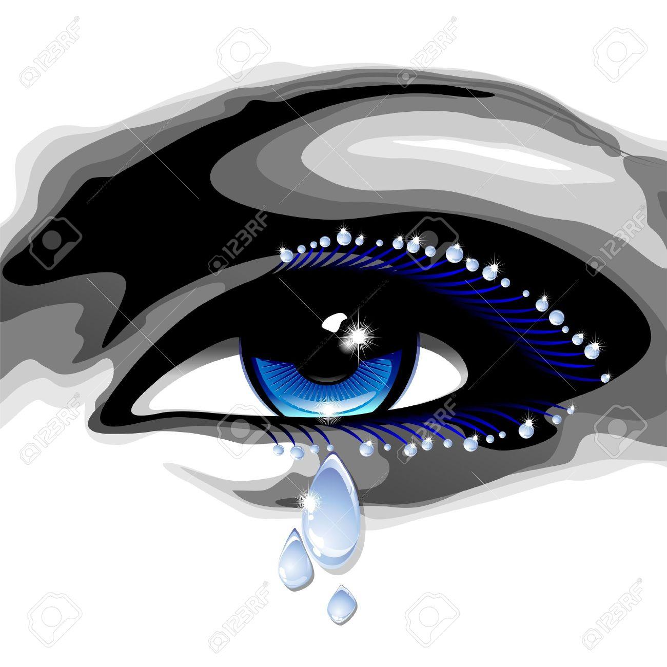Beautiful Blue Eye with Tears Stock Vector - 16478726
