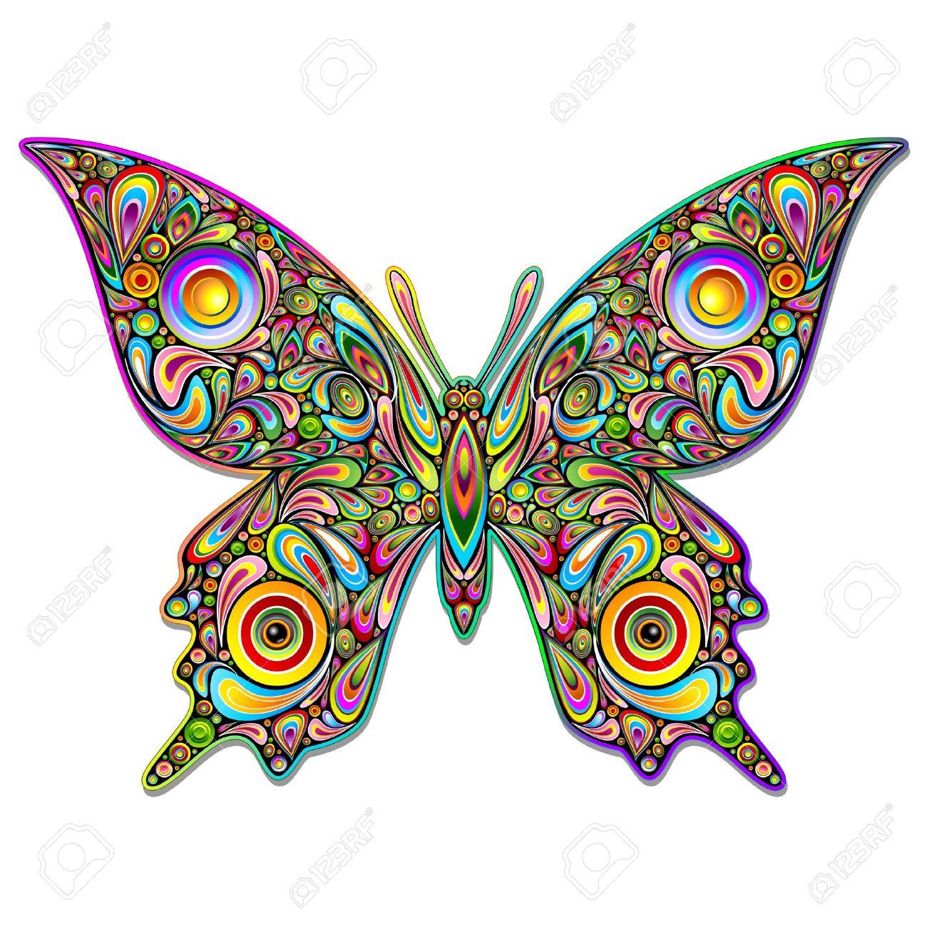 psychedelique Design Papillon Art Psychédélique