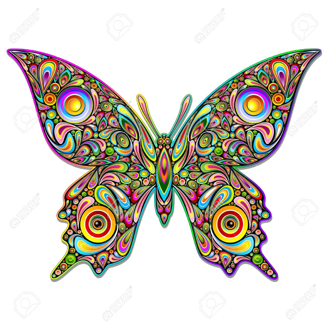 Butterfly Psychedelic Art Design Stock Vector - 17032548