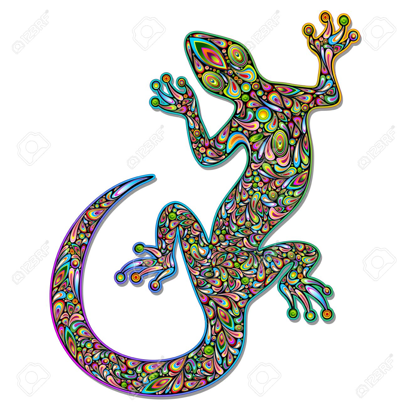 Gecko Geko Lizard Psychedelic Art Design Stock Vector - 17032549