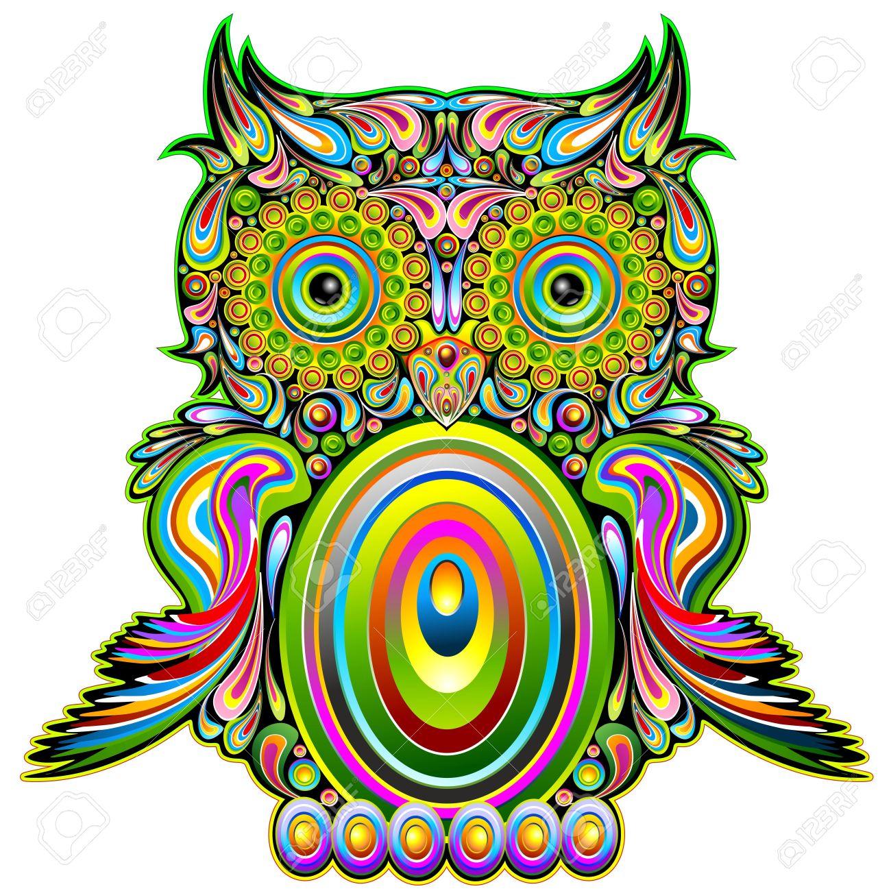 Owl Psychedelic Art Design Stock Vector - 17045265