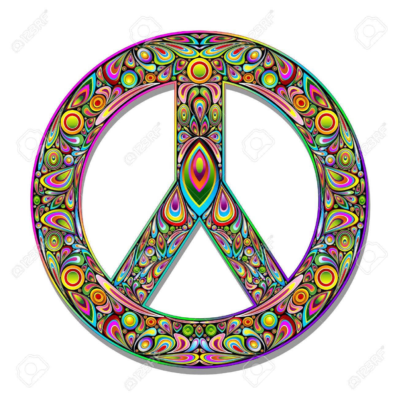 Peace Symbol Psychedelic Art Design Royalty Free Cliparts Vectors