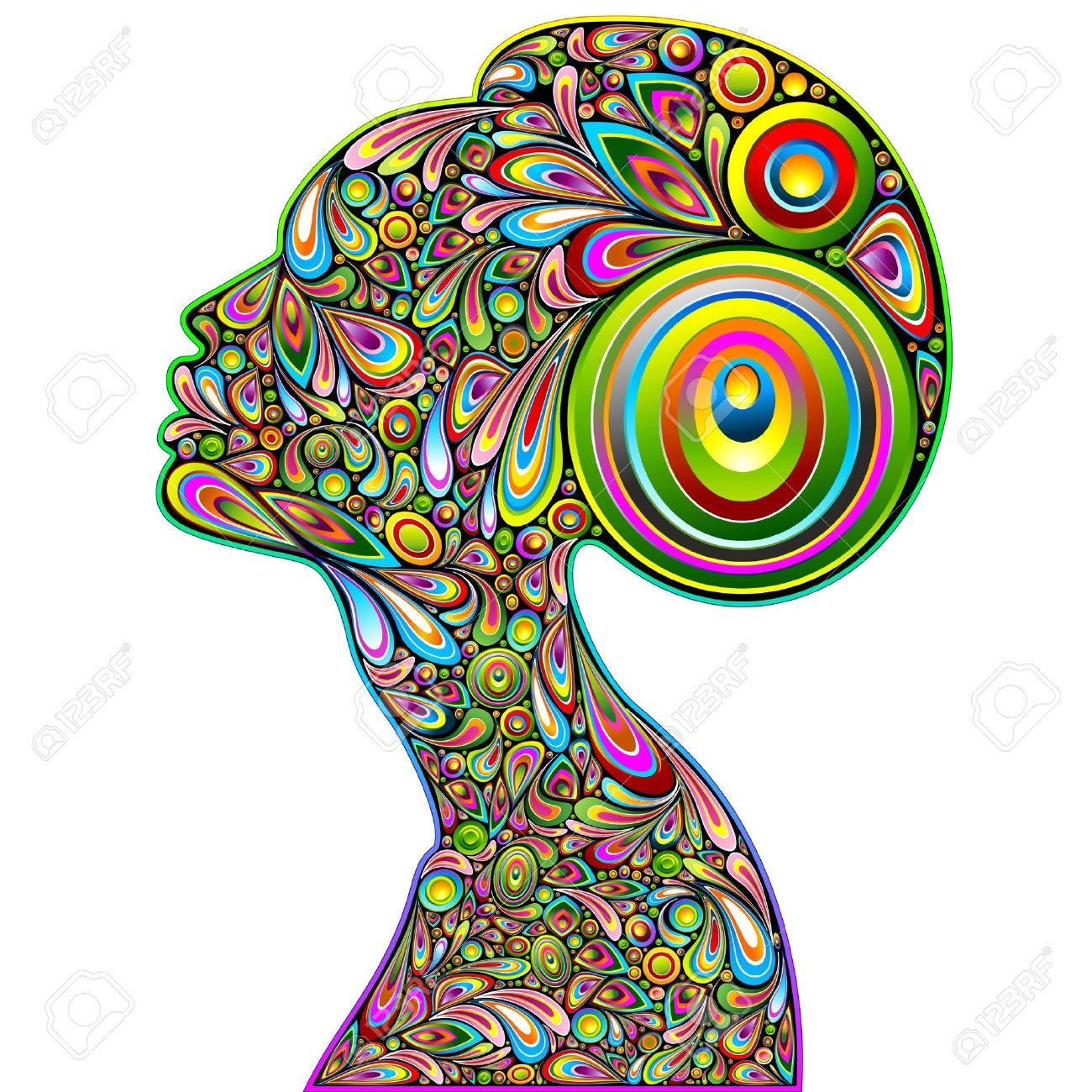 Art Design | Woman Psychedelic Portrait Art Design Royalty Free Cliparts Vectors