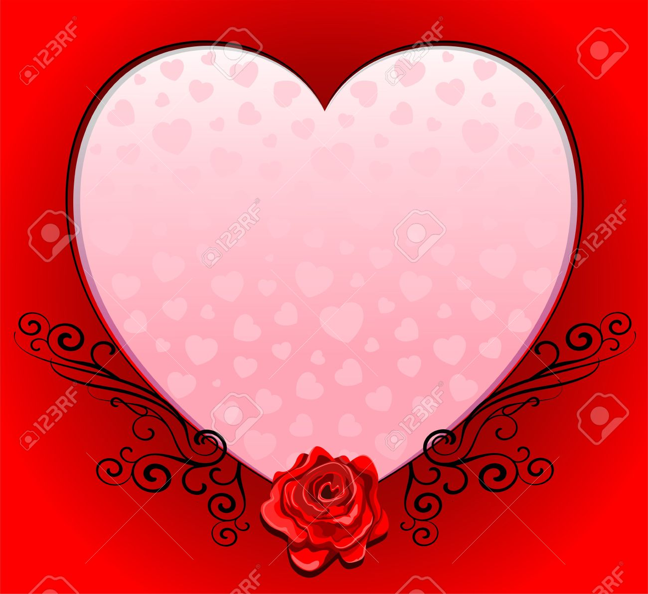 Pink Love Heart Romantic Frame With Red Rose Royalty Free Cliparts ...