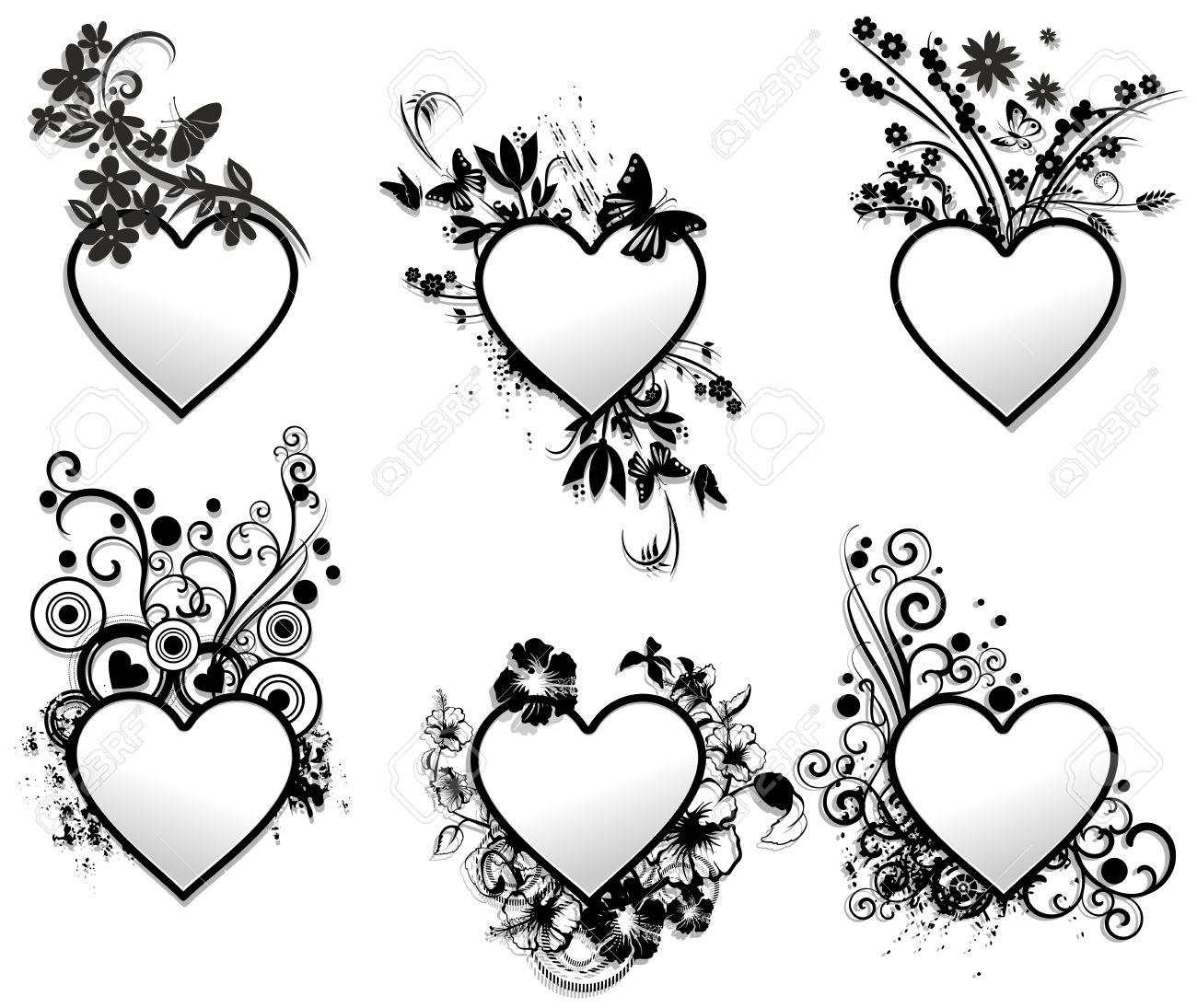 Love Hearts Tattoo Ornamental Frames Set Royalty Free Cliparts ...