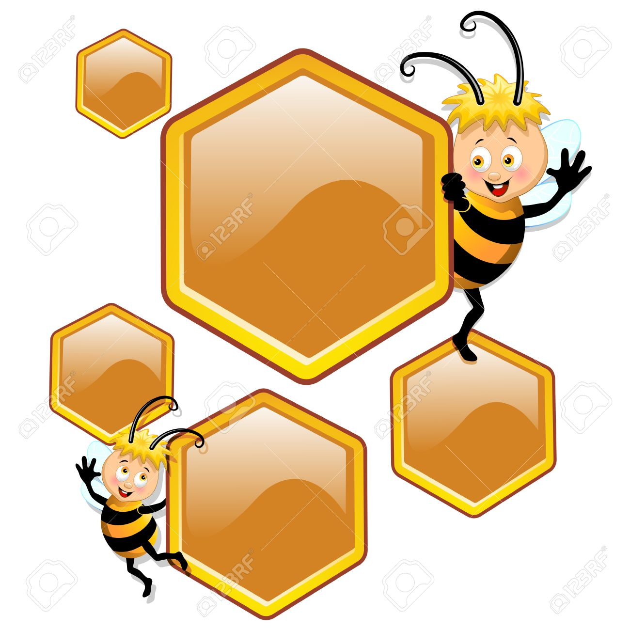Bee Cartoon with Beehive Cells Stock Vector - 17613846