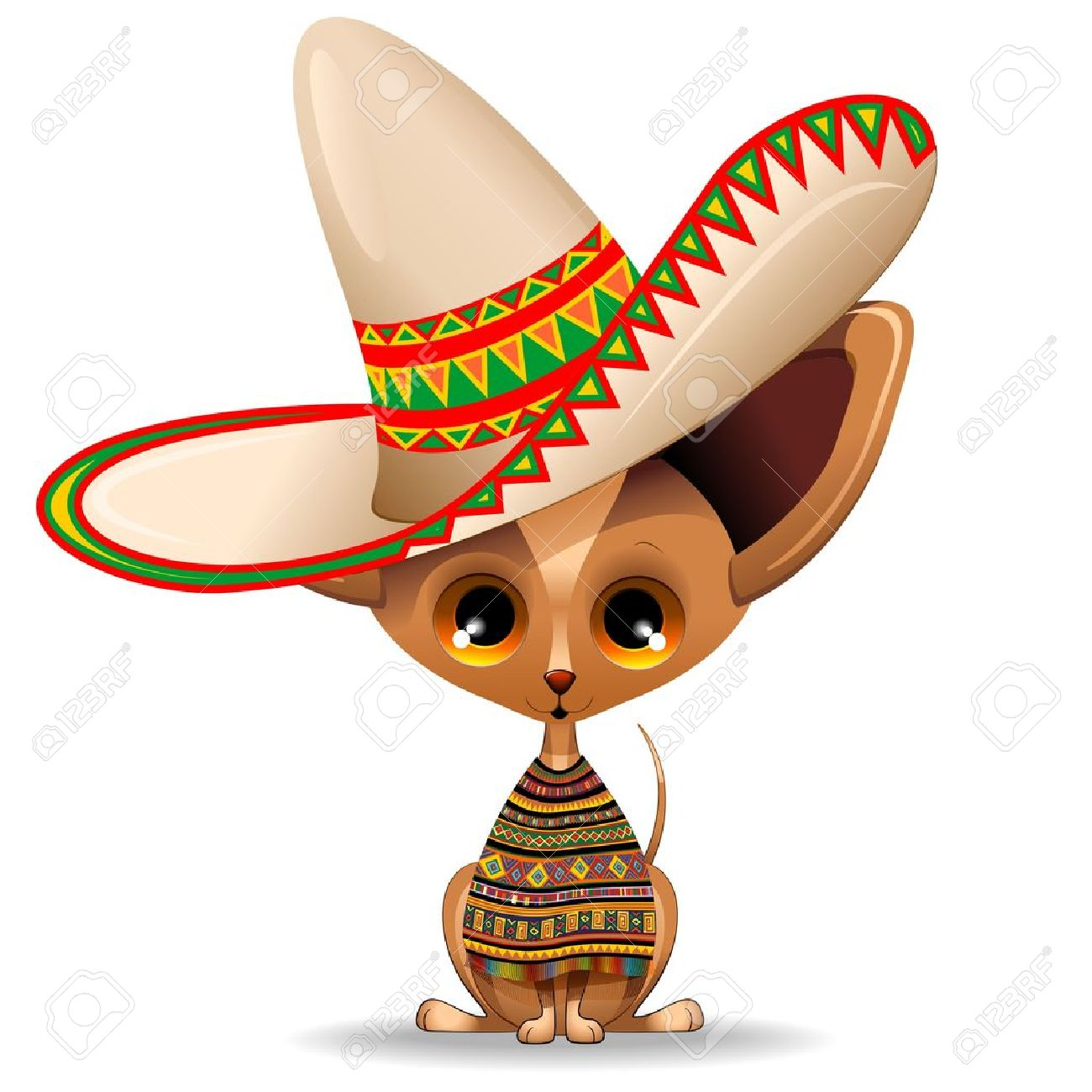 México Chihuahua cachorro perro de dibujos animados con gran Sombrero Foto de archivo - 18004795