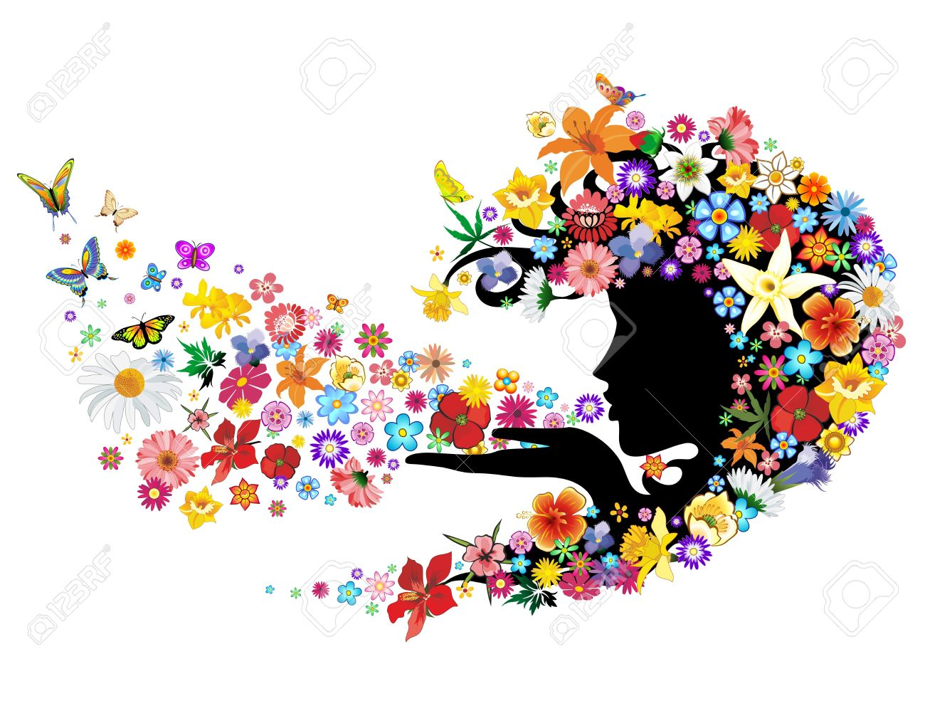 Spring Breath Flowers Mother Nature Portrait Stock Vector - 18198060