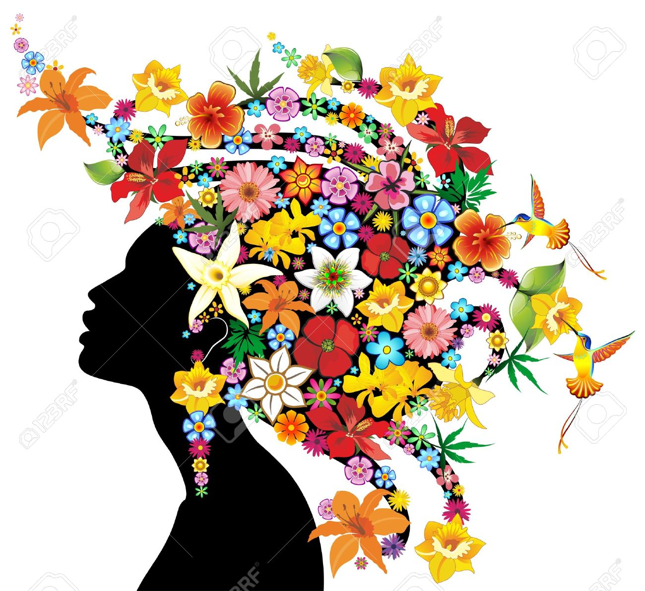 Girl s Portrait Exotic with Flowers Hair Stock Vector - 18248357