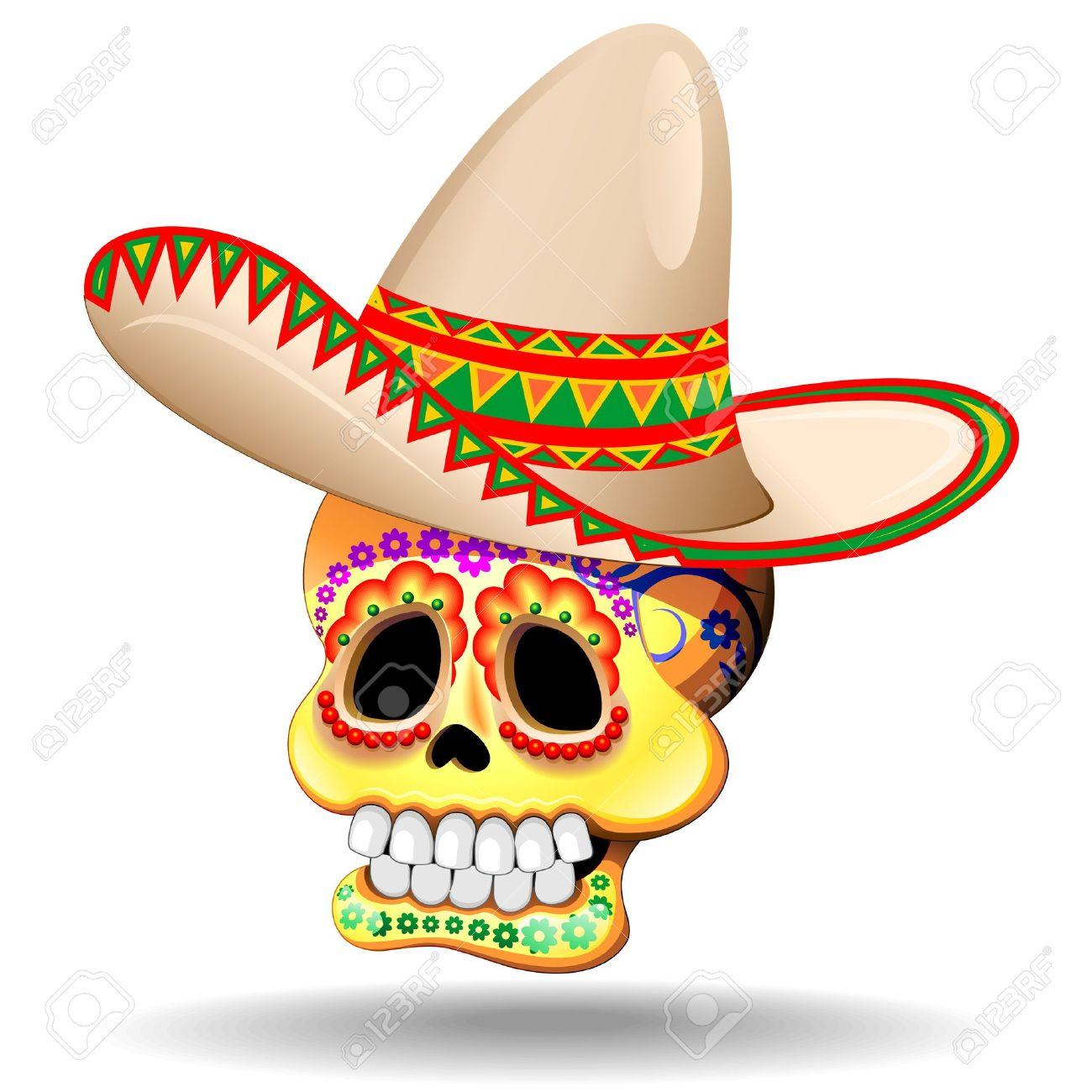 Calaveras Del Cráneo Del Azúcar Con Sombrero Ilustraciones