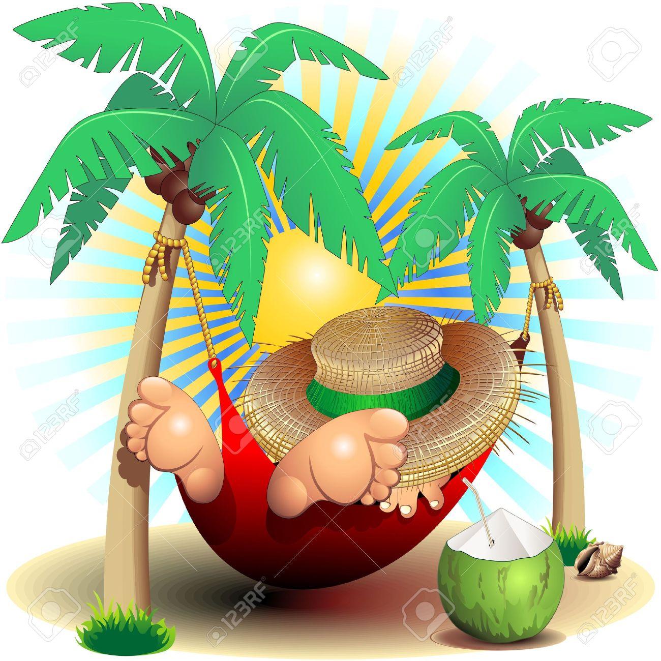 Relax Exotic Summer Holidays On Hammock Clip Art Illustration