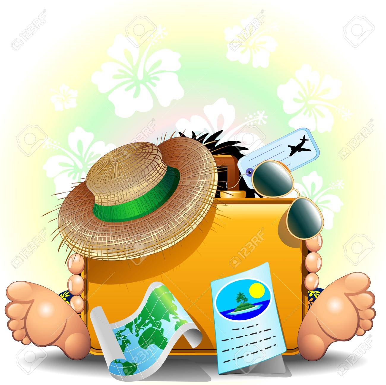 Traveler with Suitcase for Summer Holidays Stock Vector - 18441397