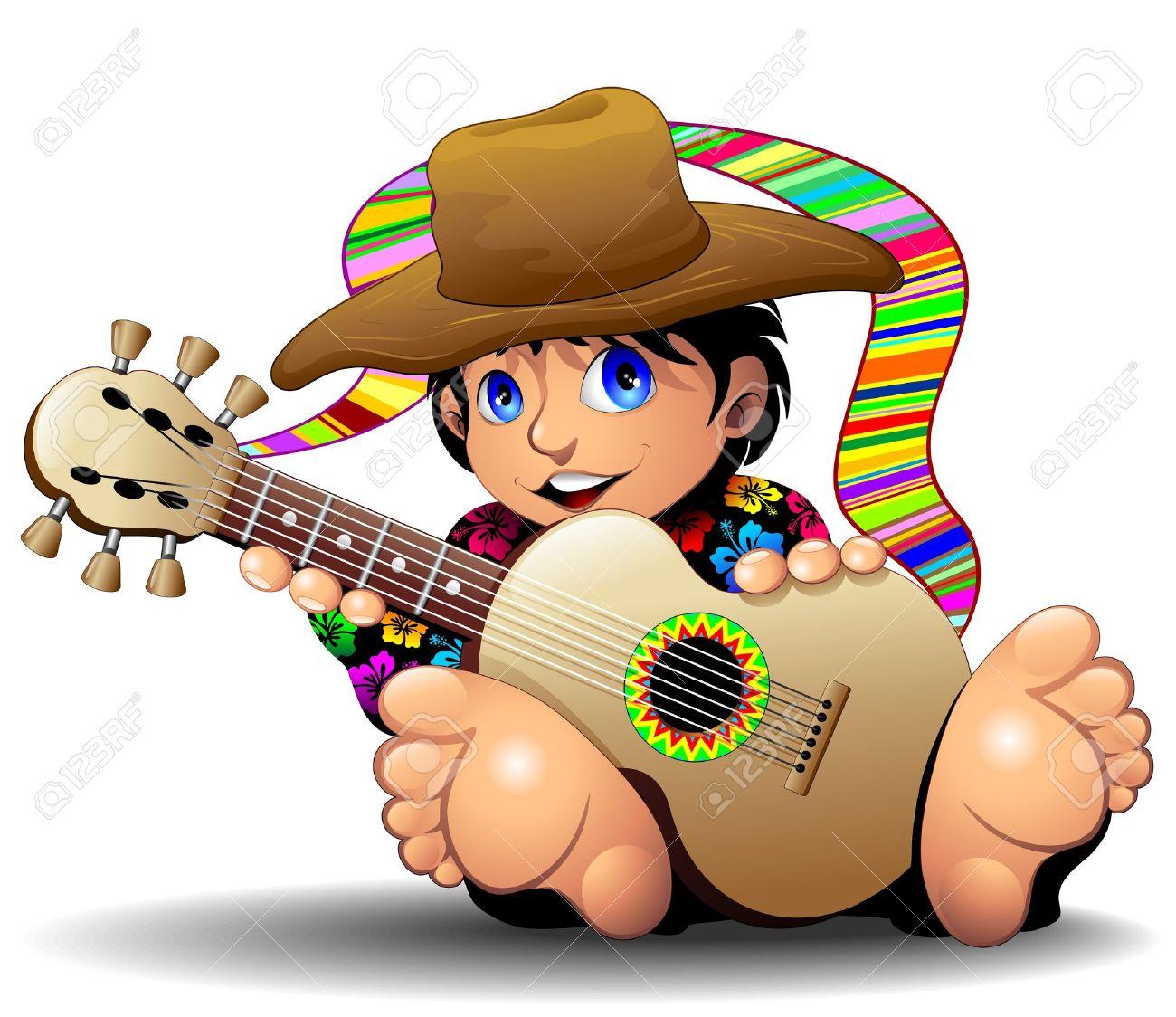 Hippie Boy Cartoon playing Guitar Stock Vector - 18464731