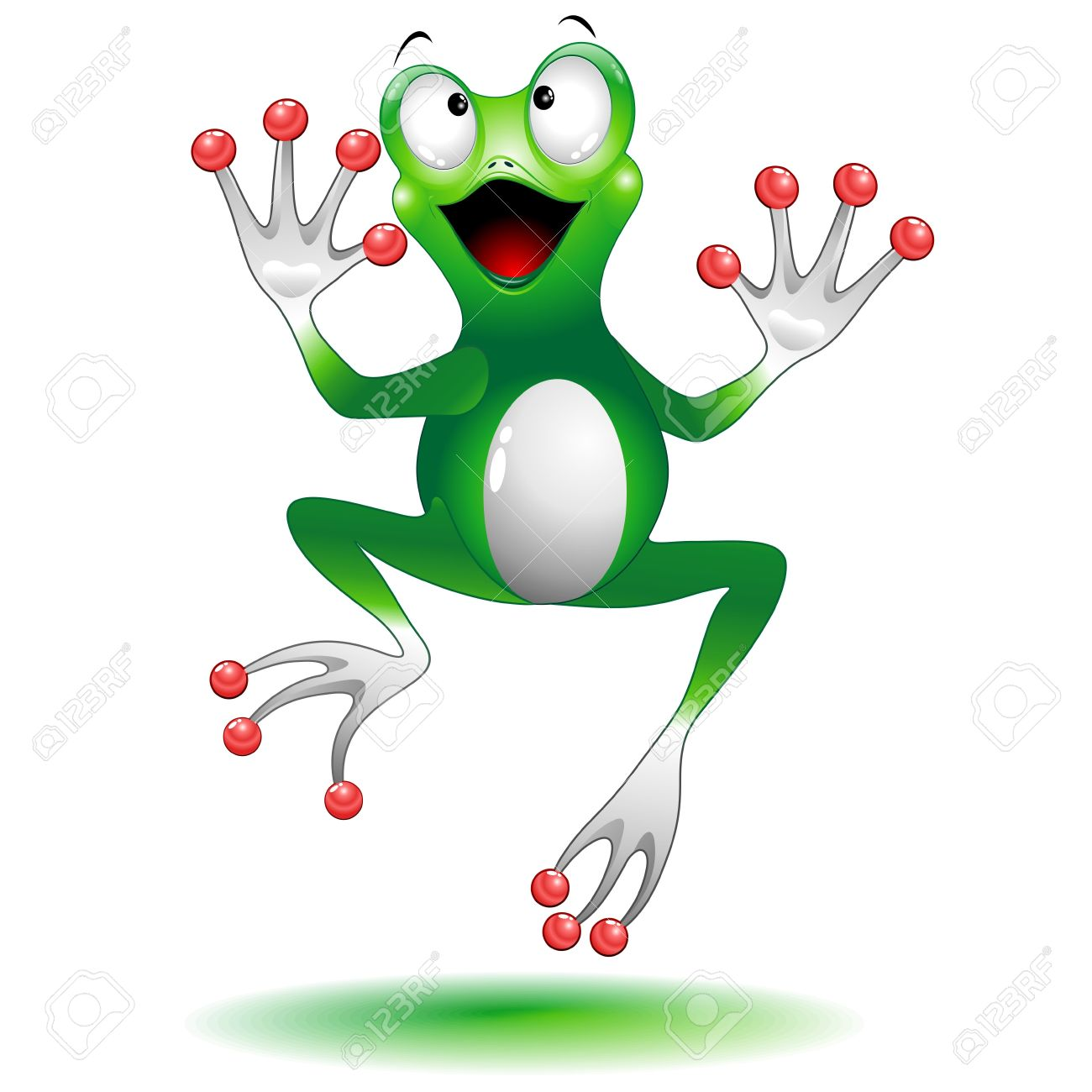 Happy Jumping Frog Cartoon Character Stock Vector - 18587241