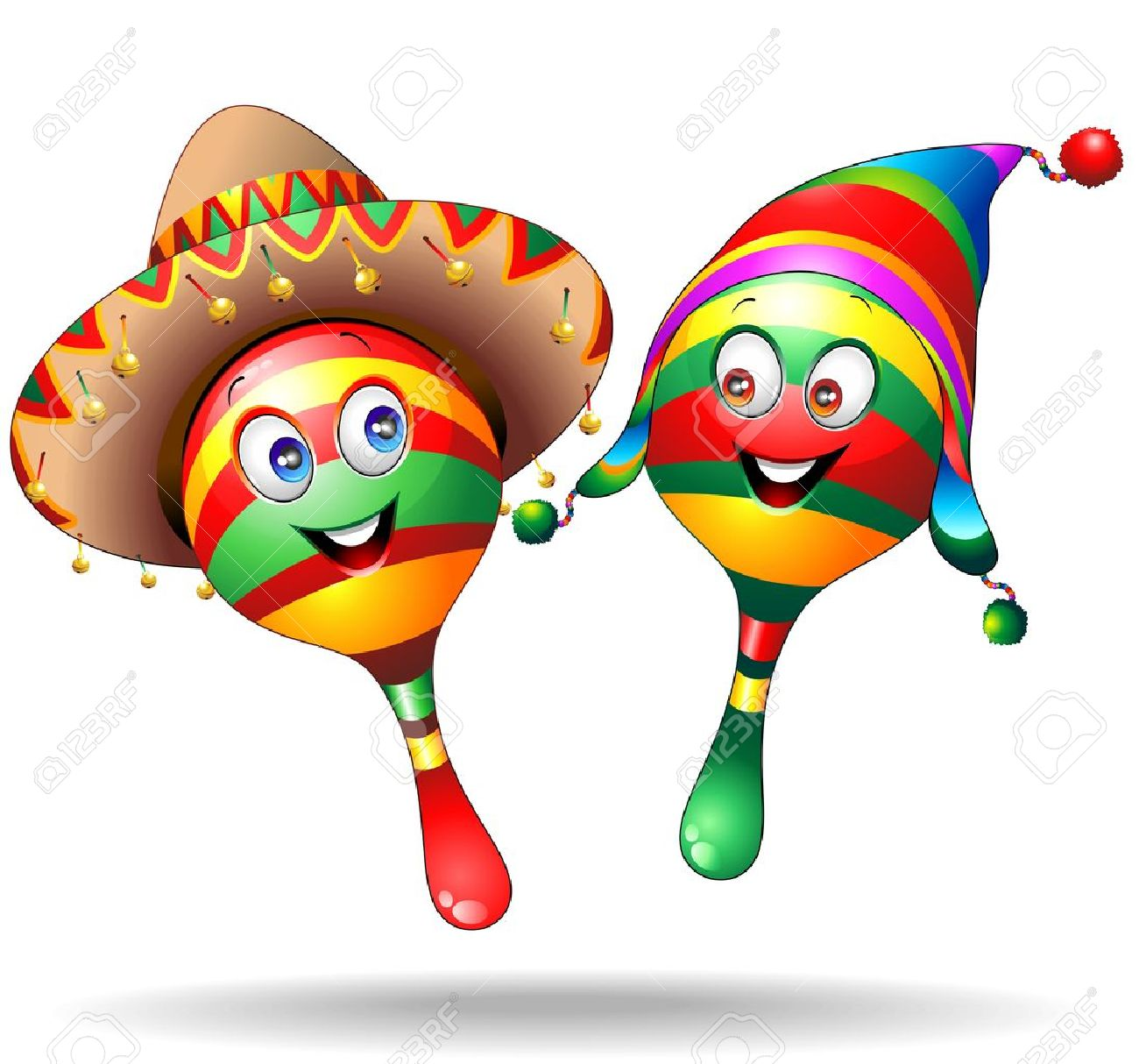 Maracas Cartoon Characters with Sombrero and Llucho Stock Vector - 18587243