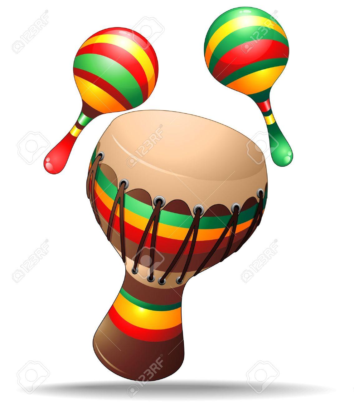 Bongo and Maracas Percussion Instruments Stock Vector - 18727310