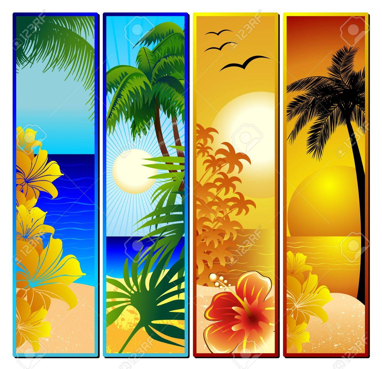 Tropical Seascape and Sunset Banners Stock Vector - 18876926