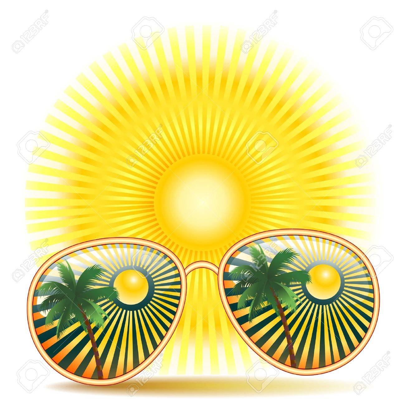 Sunglasses With Palm tree Reflexion Stock Vector - 18958616