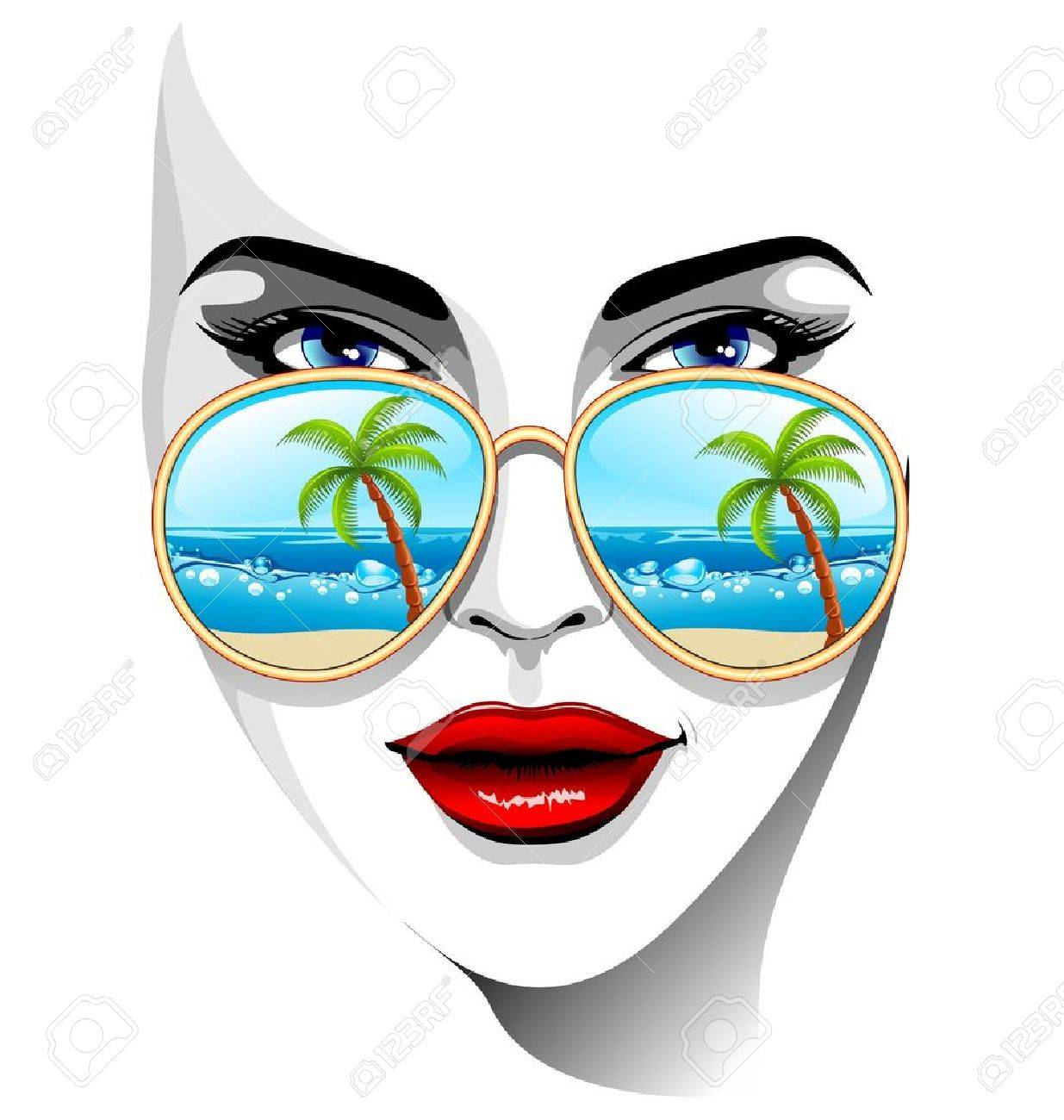 Girl Portrait with Tropical Beach Reflexion on Sunglasses Stock Vector - 19038734