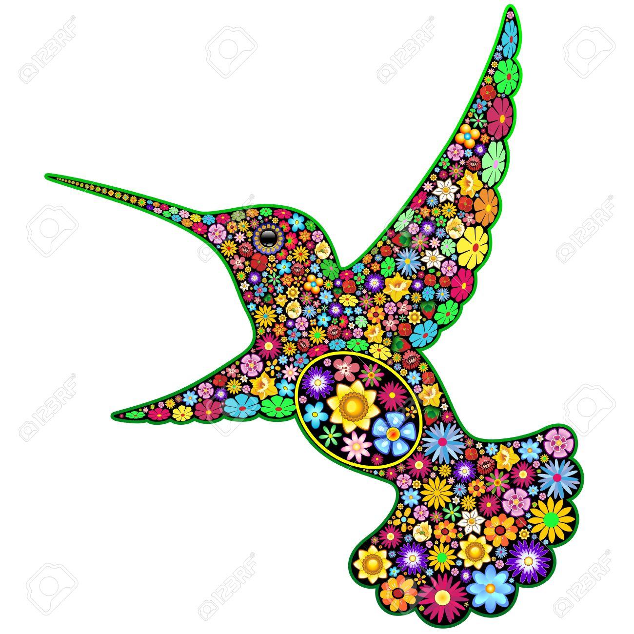 Hummingbird Floral Ornamental Art Design Stock Vector - 19317038