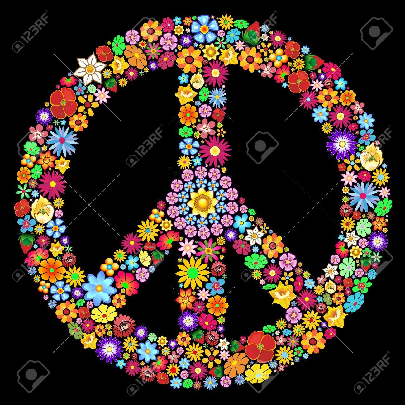 Peace Symbol Groovy Flowers Art Design Stock Vector - 19317037