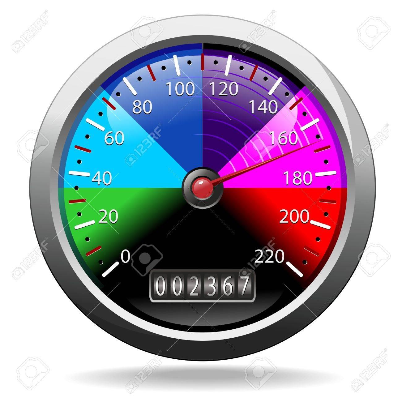 Odometer Speedometer Rainbow Colors Stock Vector - 19457568