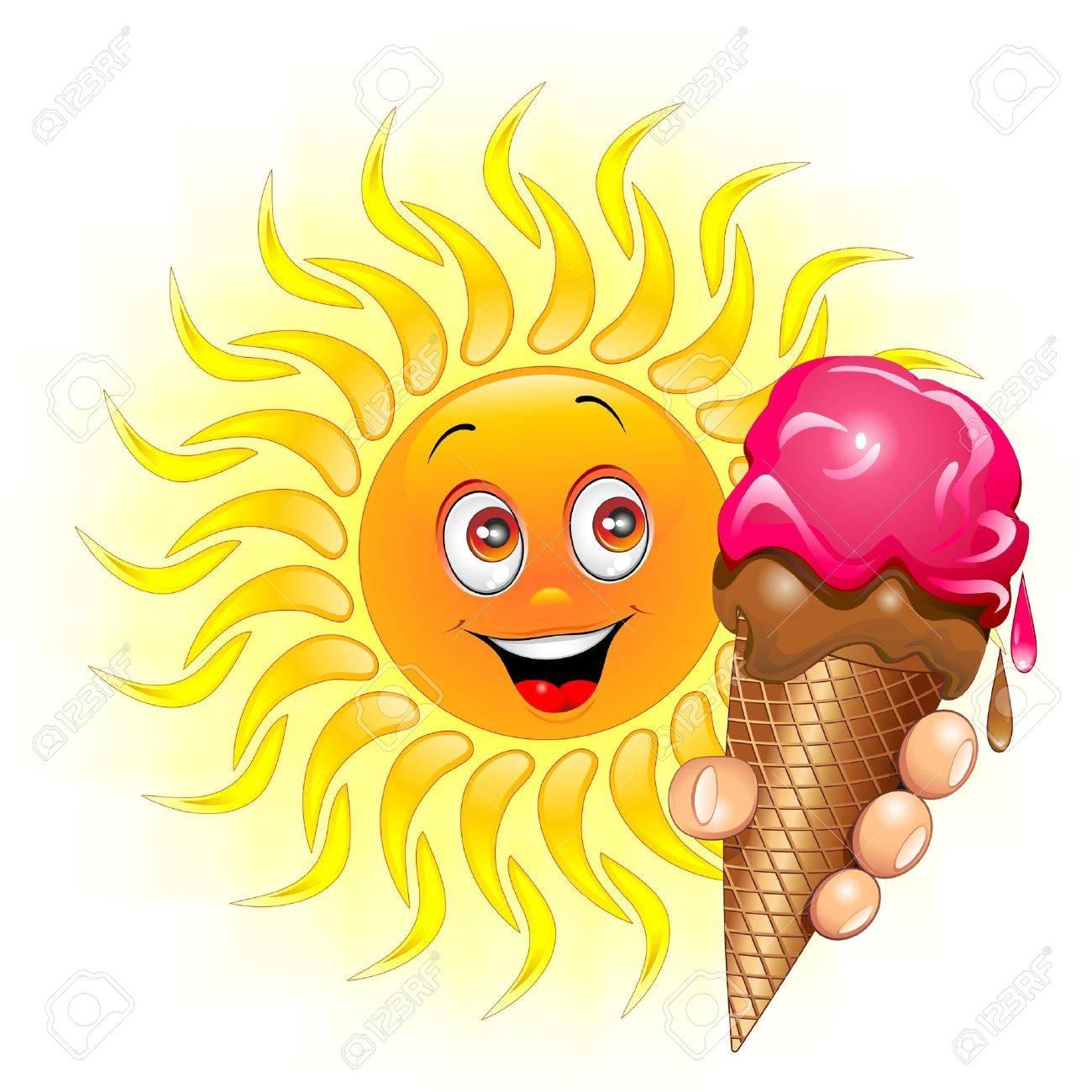 Sun Cartoon with big Ice Cream Stock Vector - 19684798
