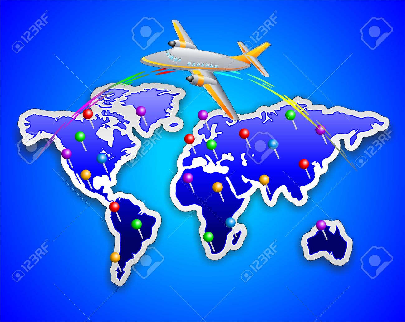 World map sticker with plane royalty free cliparts vectors and vector world map sticker with plane gumiabroncs Images