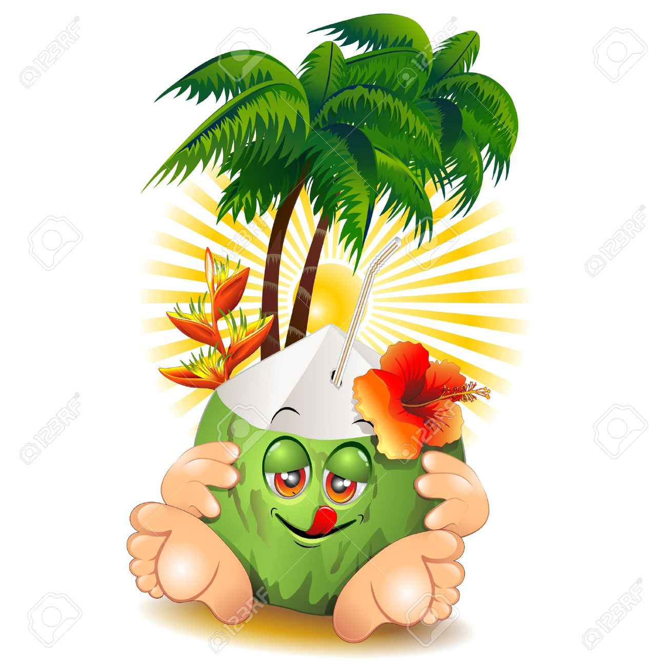 Green Coconut Cartoon Character and Palm Trees Stock Vector - 19872108