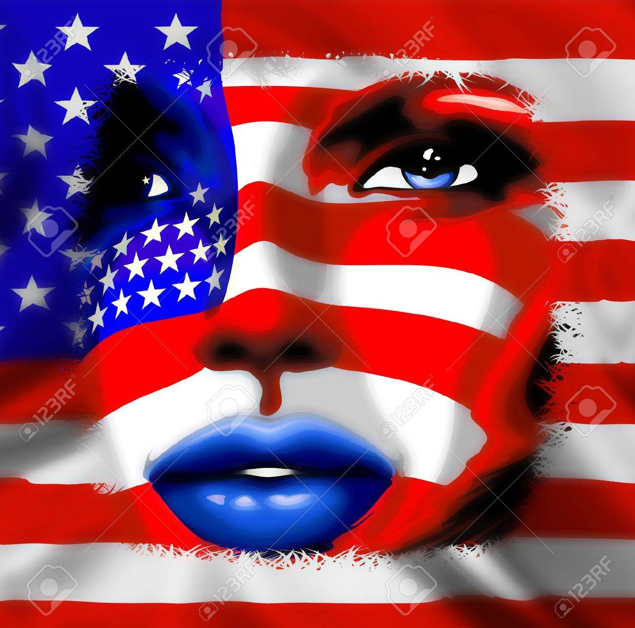 Stars and Stripes USA Flag on Girl Portrait Stock Photo - 20051703