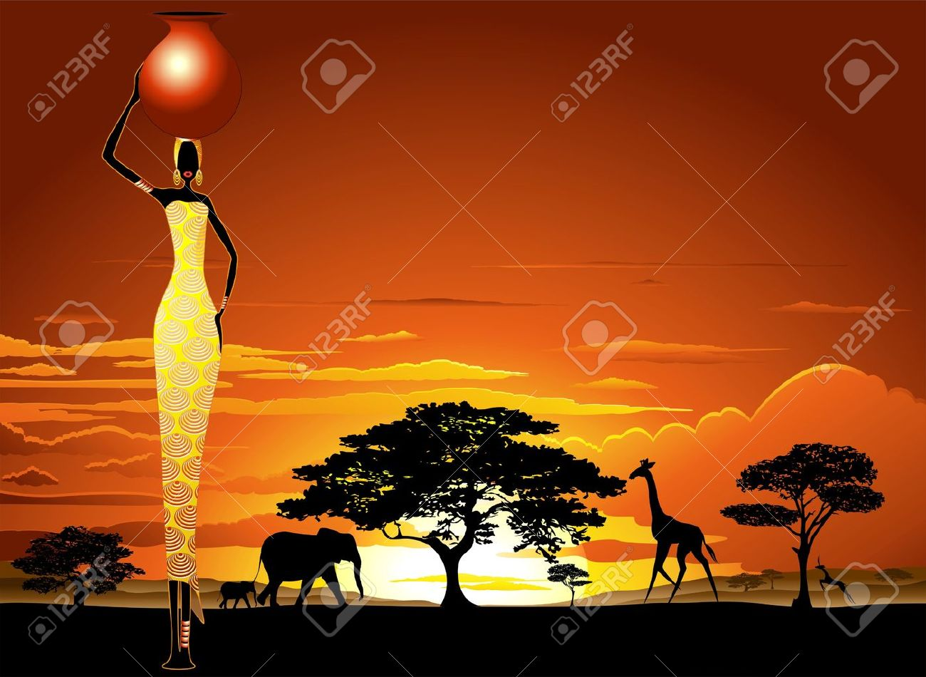 African Woman on Bright Savannah Sunset Stock Vector - 20282340