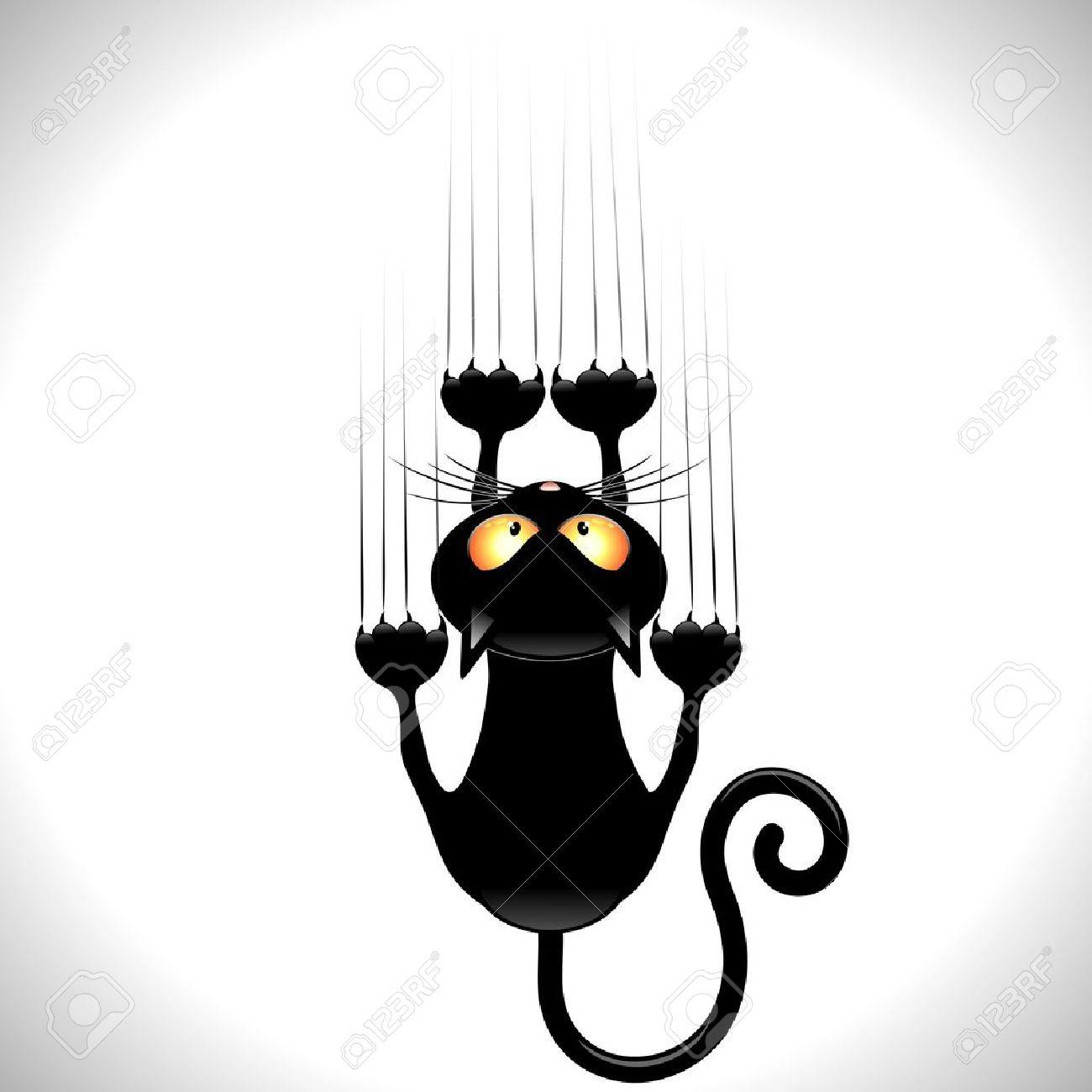 chat drôle Cartoon Noir gratter mur