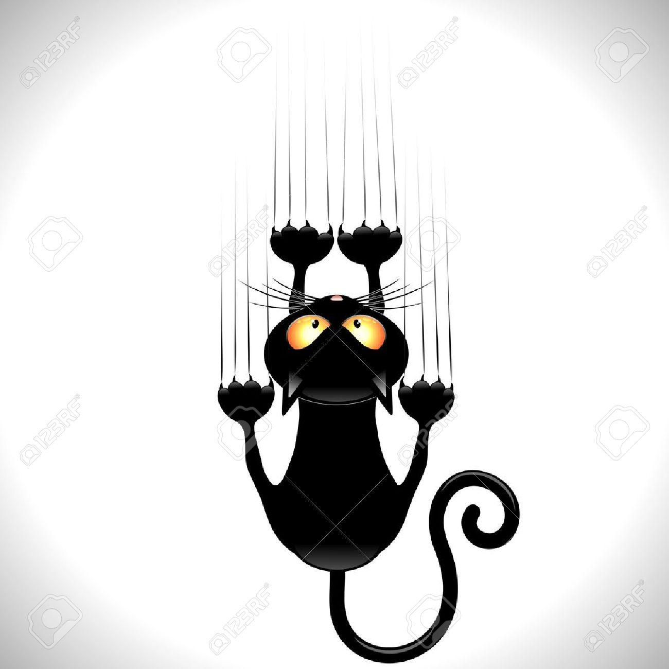Black Cartoon Scratching Wall Stock Vector - 20639819