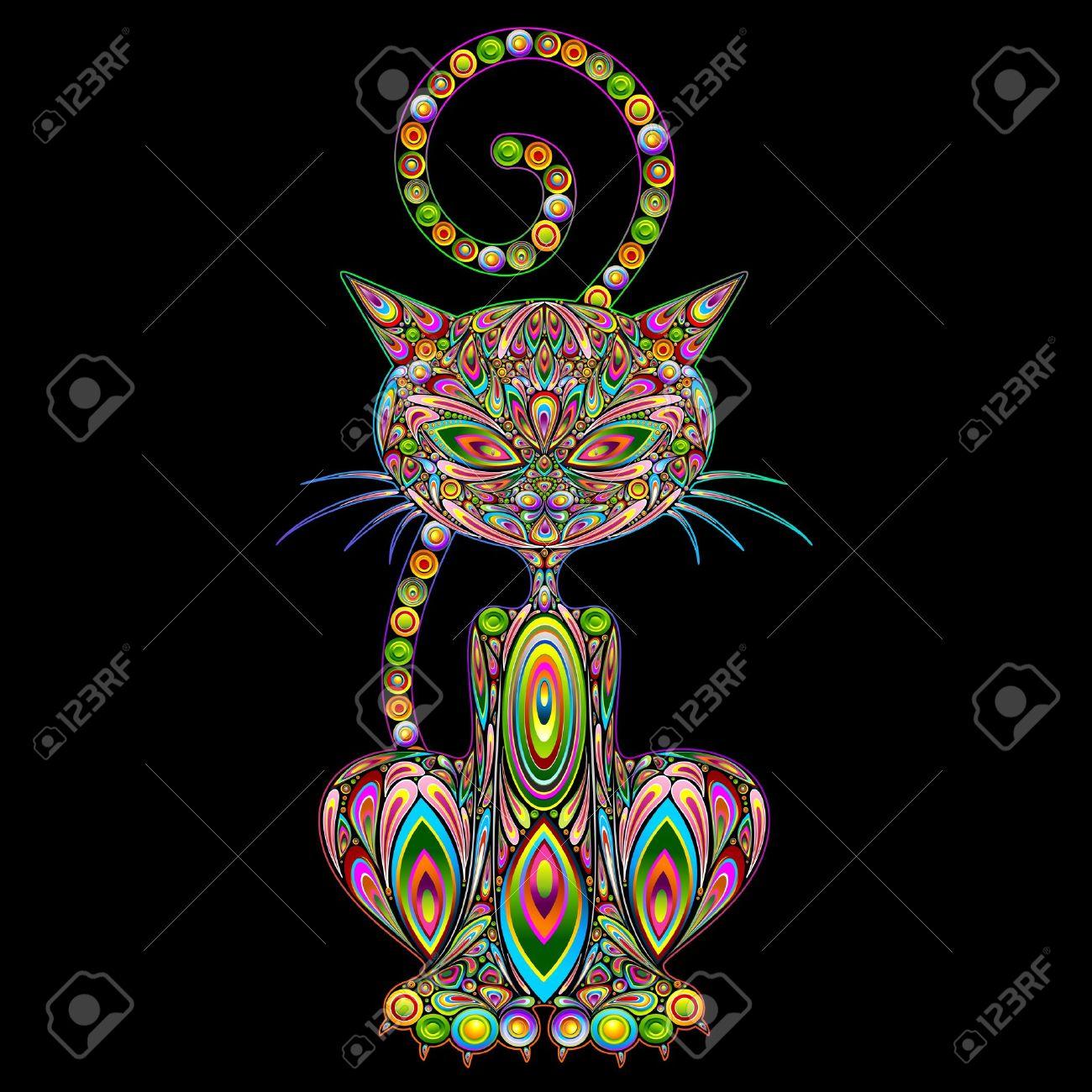 Cat Psychedelic Art Design Stock Vector - 21299335