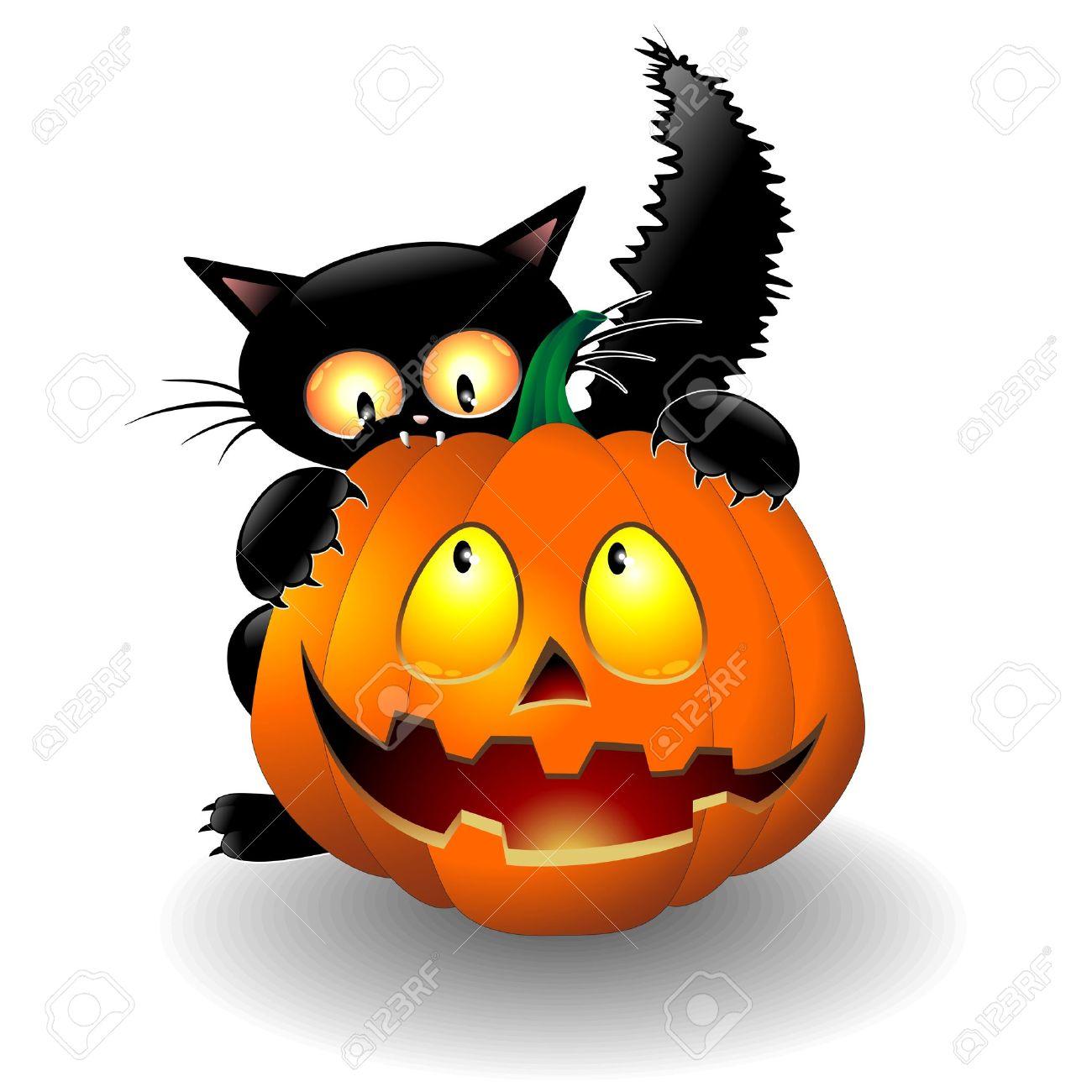 Halloween Cat Cartoon biting a Pumpkin Stock Vector - 21299346