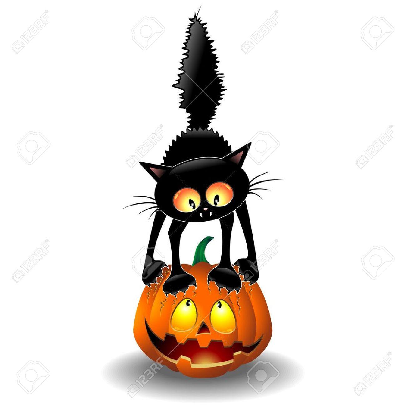 Scared Halloween Cat Cartoon scratching a Pumpkin Stock Vector - 21299348