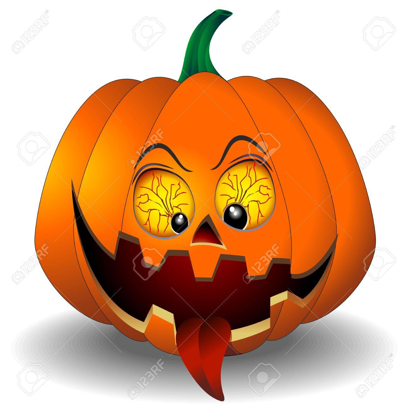 Funny And Scary Halloween Pumpkin Cartoon Stock Vector   21299351