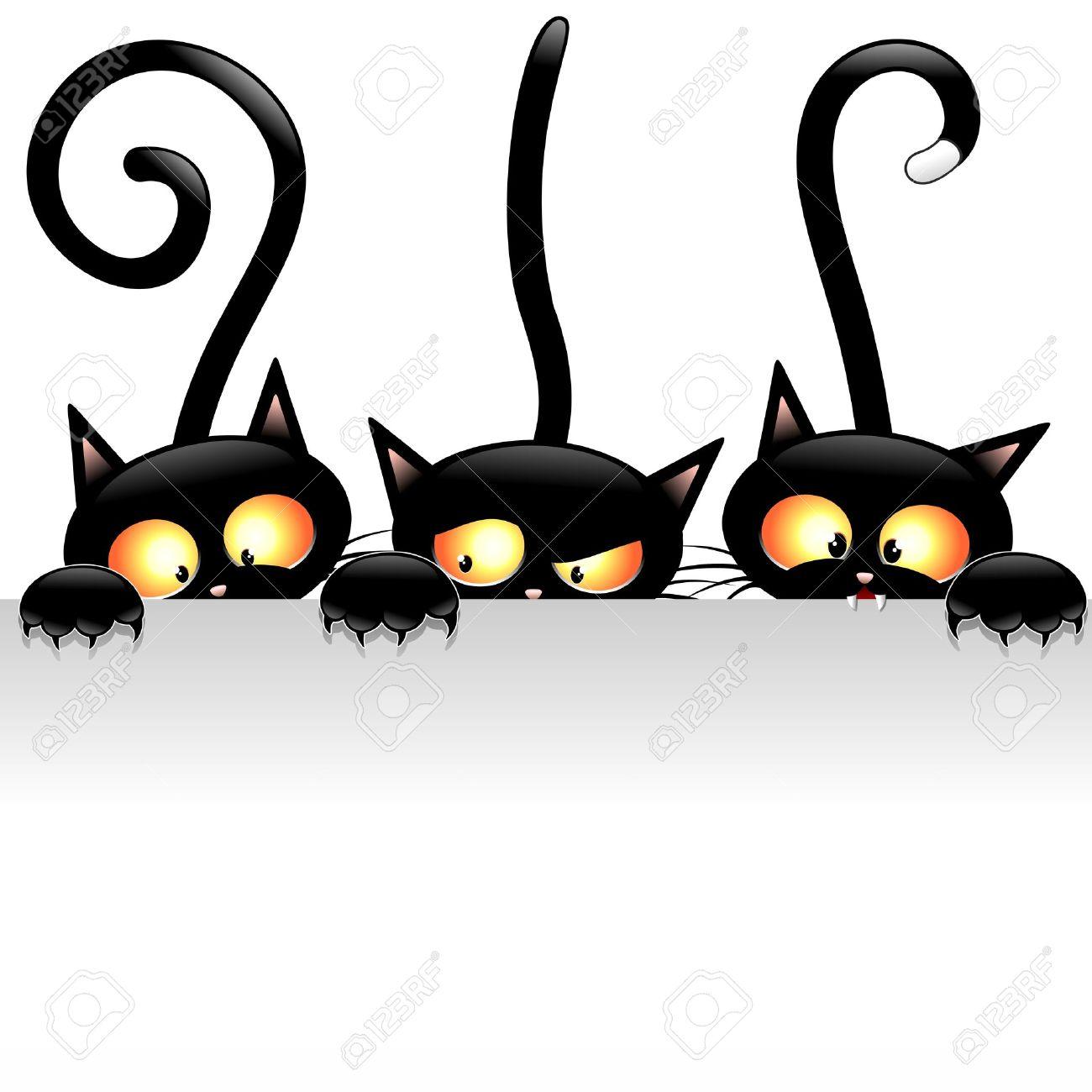 Banque dimages , Drôle de chats noirs de bande dessinée avec le panneau blanc