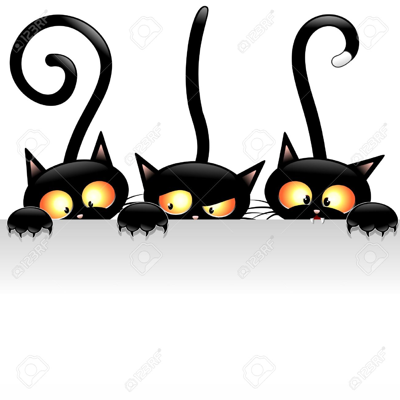 Funny Black Cats Cartoon with White Panel Stock Vector - 21975874