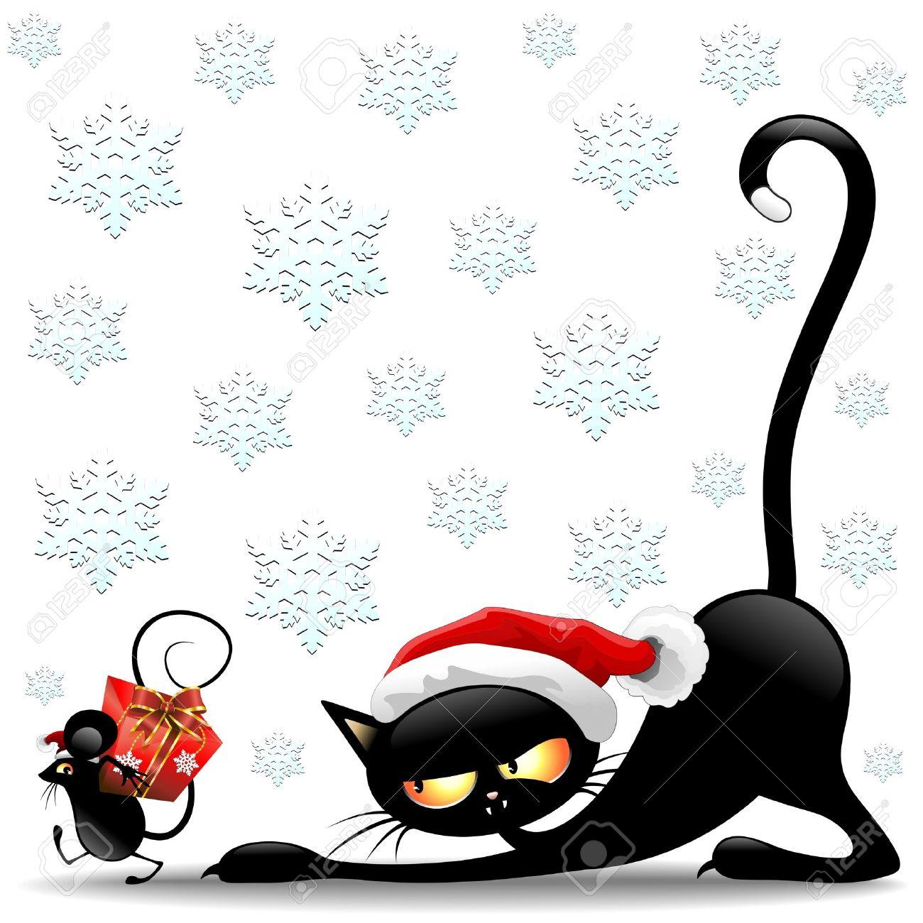 chat et souris Chat et souris de dessin animé drôle de Père Noël