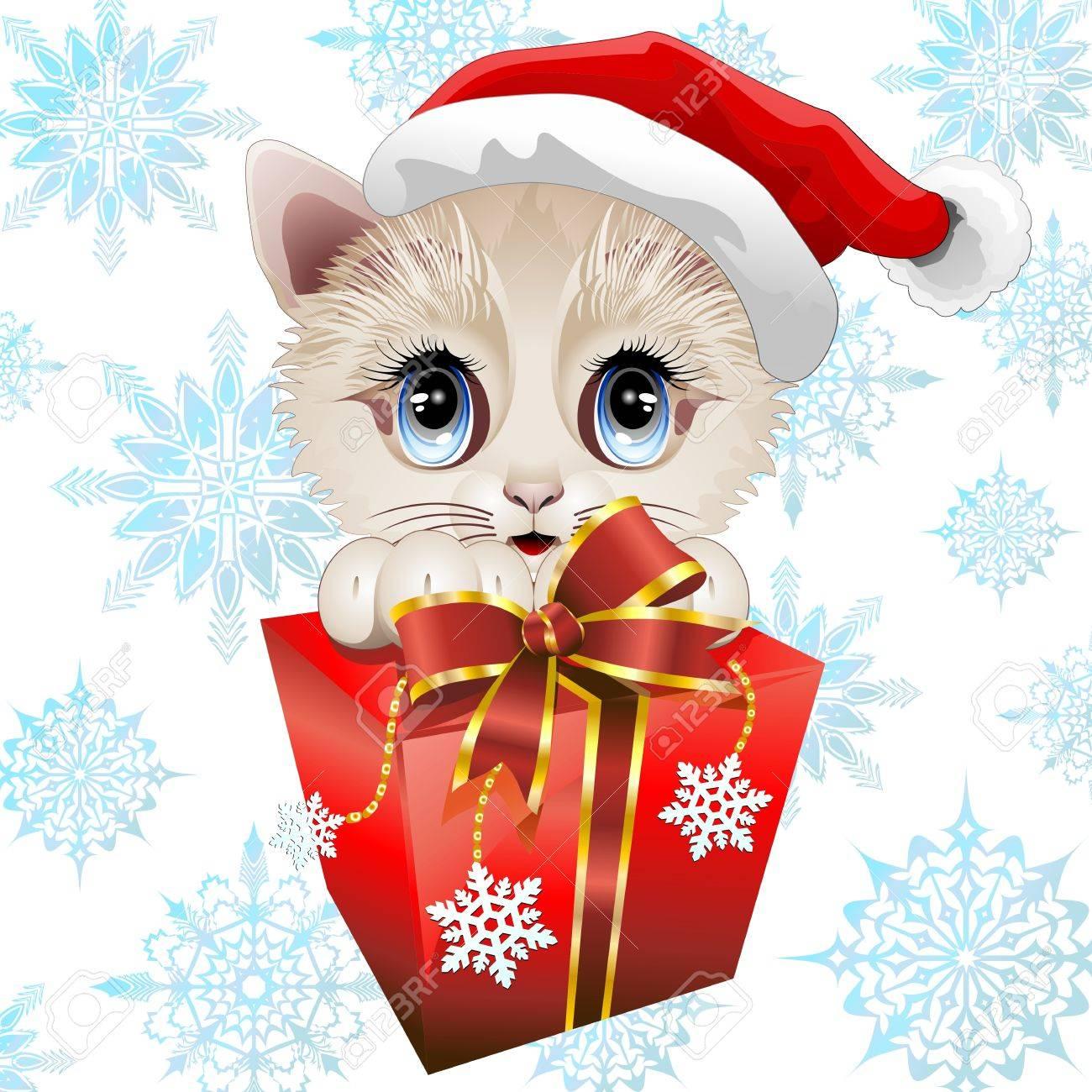 Christmas Santa Kitten with big Gift Stock Vector - 22037296